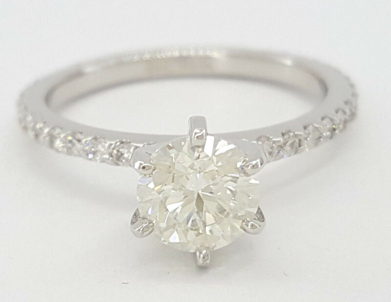 1.48 Ct 14k White Gold Round Brilliant Cut Diamond Engagement Ring Egl $8,000