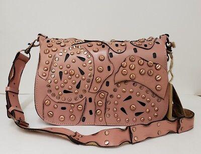 Patricia Nash Studded Link Rosa Blush Saddle Bag Leather Purse Messenger NWT