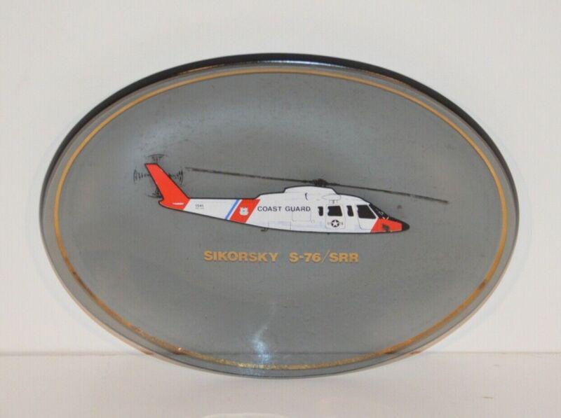 VINTAGE SIKORSKY S-76/SRR COAST GUARD HELICOPTER 1541 GLASS DISH DISPLAY