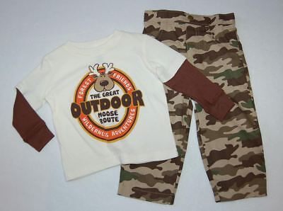Baby Boys Ouftit L/S T-SHIRT & CAMO PANTS Forest Friends Great Moose Route 18 MO Infant Woodland Camouflage T-shirt