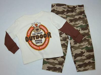 Toddler Boys Ouftit L/S T-SHIRT & CAMO PANTS Forest Friends Great Moose Route 4T Infant Woodland Camouflage T-shirt