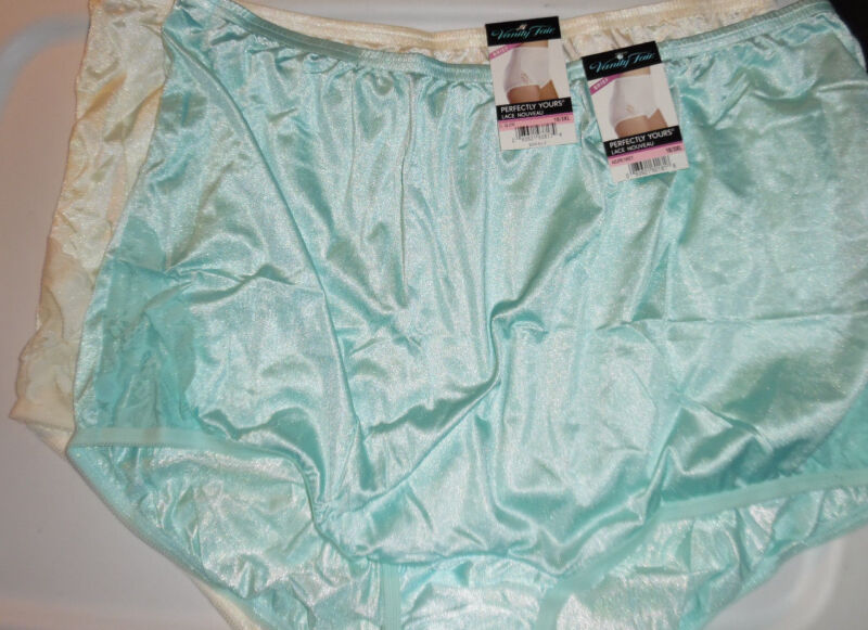 Vanity Fair Nylon Brief Lace Nouveau Perfectly Yours 2 Panty 10 3X Blue Yellow