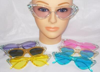 SUN GLASSES 7 DIFFERENT COLORS CATS EYE DIAMOND RHINESTONES FREE USA SHIP (Cats Eye Sun Glasses)