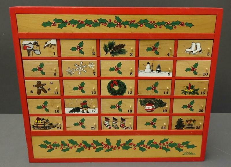 LL Bean Wooden Christmas Holiday Advent Calendar Vtg 1980