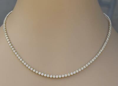 "Natural SI2 Diamond 7ct Eternity Necklace 14k Yellow Gold 18"" Chain Men Women"