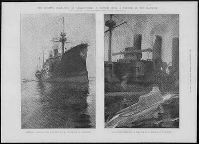1904 Antique Print - RUSSIA Vladivostok Harbour Submarine Trial Launch (316)