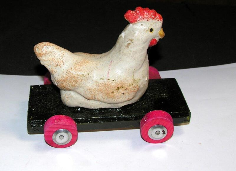 VTG NOS 1940S EASTER PULL TOY, COMPOSITE HEN CHICKEN ON WOOD CART W WHEELS
