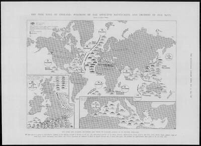 1904 Antique Print - NAVAL WORLDWIDE MAP Battleship Cruisers Positions (282)