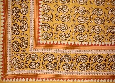 "Primitive Paisley Block Print Tapestry Cotton Bedspread 108"" x 88"" Full-Queen"