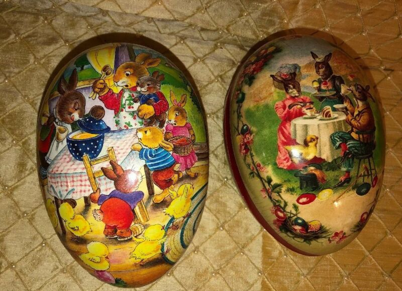"2 Vintage Large German Easter Egg  Echt Erzgebirge 6""x4"""