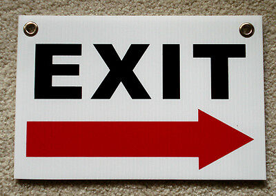 Exit With Arrow Pointing Right 8 X12 Plastic Coroplast Sign With Grommets