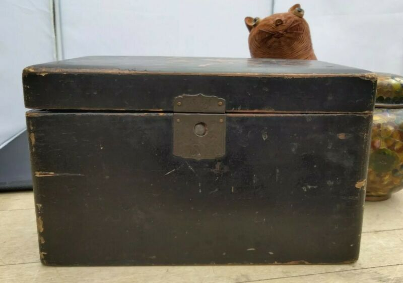 Antique Asian Black Lacquer Tea Caddy