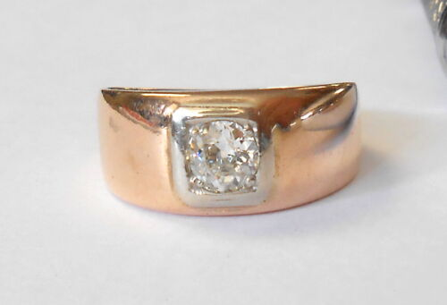 Circa 1930s Mine Cut .46CW Diamond Solitaire 14K Rose Gold Band Ring Size 7 Mens