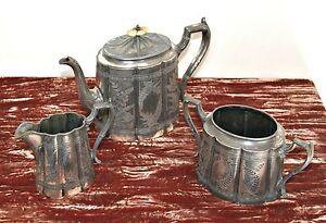 Antique Victorian James Dixon & Sons Silver Plated 3 Piece Engraved Tea Set