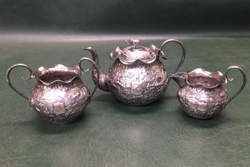 Antique Silver Repousse Tea Set India Snake Handles Ornate Elephant MCR 23 Ozt