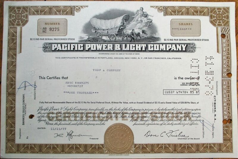 Pacific Power & Light Co. 1977 Stock Certificate w/Stage Coach Vignette - Brown