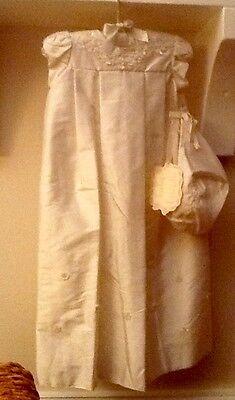 Gorgeous Baby Biscotti Silk Christening Gown Set  Layette Newborn Ivory NWT
