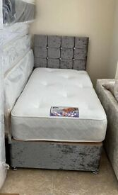 Single Size Crushed Velvet Bed & Mattress