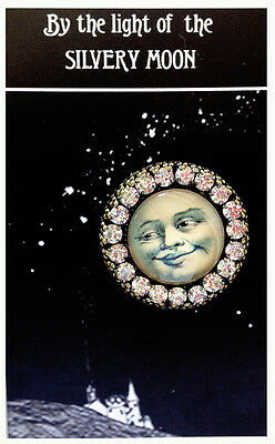 VINTAGE MAN IN THE MOON ~ GLASS DOME BUTTON Rhinestone Filigree 30mm LARGE