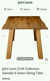 John lewis croft collection solid oak dining table new 6 seater