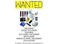 WANTED - Personal Cassette Players, Discman, Walkman, MP3, Dictaphones, Calculators etc.