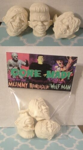 Universal Monsters GONE MAD Aurora Replacement Heads Franky, Mummy & Wolfman
