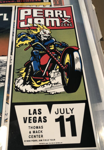 1998 Coby S Schultz Ames Brothers Pearl Jam Las Vegas Poster