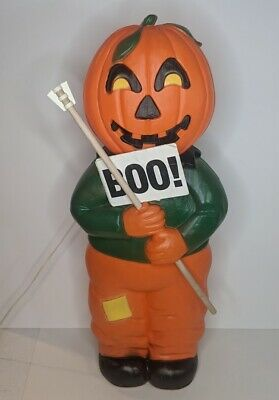 """Halloween Blow Mold 31"""" Scarecrow Pumpkin Man Lighted Union Products 1995"""