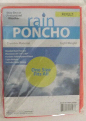 "10 RED ADULT RAIN PONCHOS W/ HOOD WATERPROOF 52"" X 80"" LOT @"