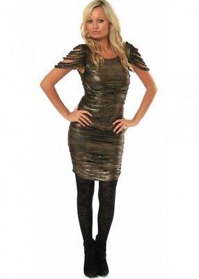 BNWT Asos HoF Supertrash Tuckler Gold Point Jersey Mini/Midi Dress UK Sml...