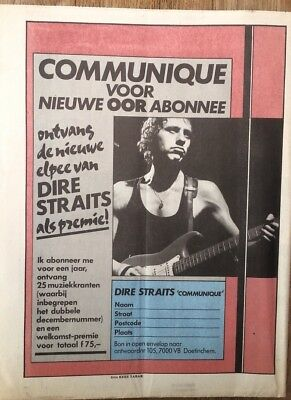 DIRE STRAITS Communique 1979 Dutch Press ADVERT 11x8 inches