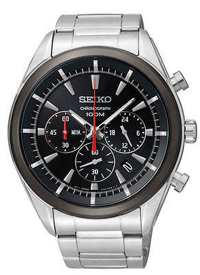 Latest Seiko SSB089P1 Men's Stainless Stiffen Black Dial Chronograph Sports Look after