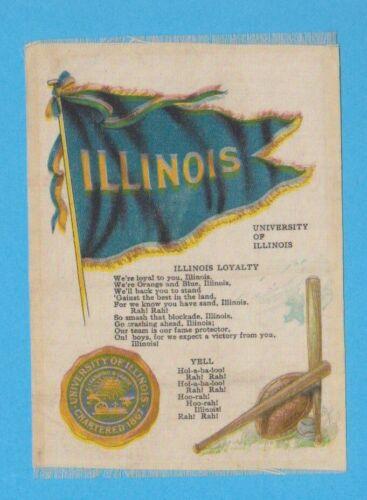 c1910s S23 tobacco silk UNIVERSITY OF ILLINOIS baseball theme college cheer silk