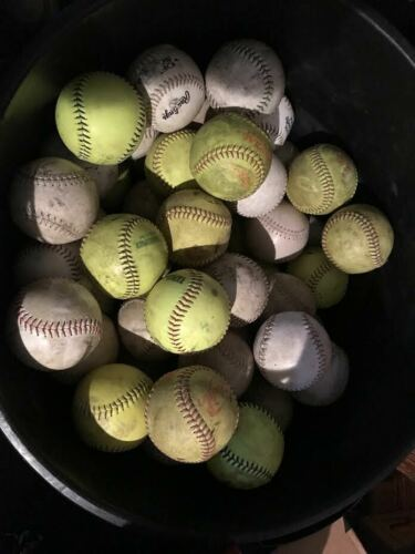 LOT 18 USED MIXED BRAND 12-inch SOFTBALLS YELLOW/ WHITE--  FREE SHIPPING !
