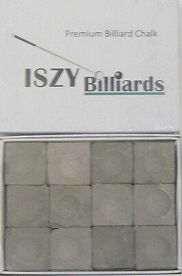 Premium Pool Table Billiard Cue Chalk 12 Pieces Charcoal Gray