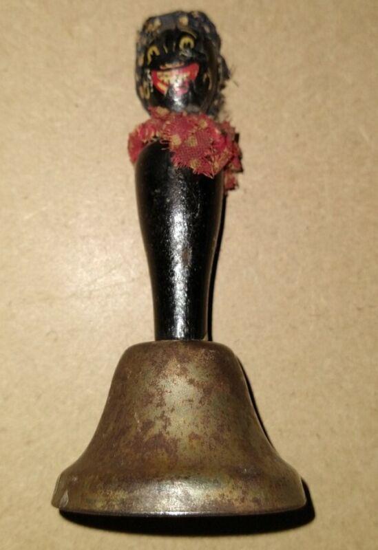 Vintage Black Americana Small Wood Handle Bell