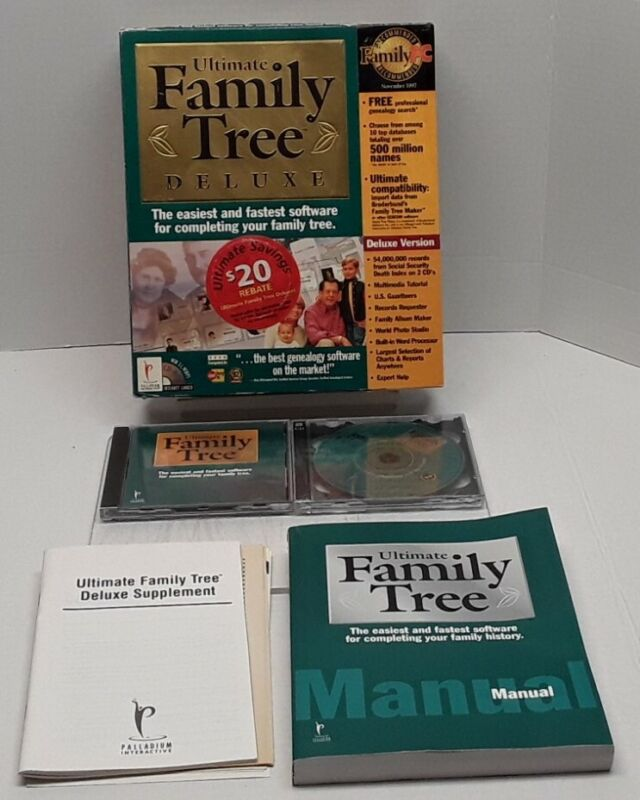 Palladin Interactive ULTIMATE FAMILY TREE Deluxe Version for WIN 3.1/95 Complete