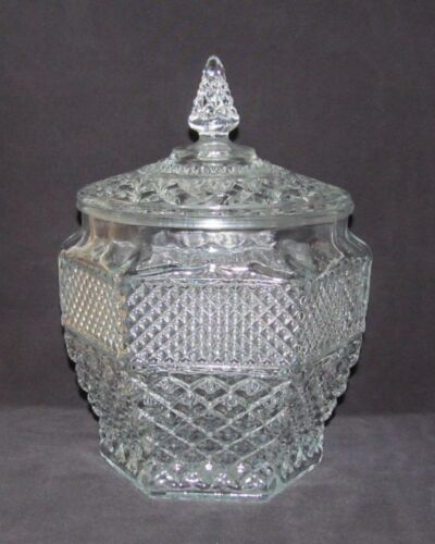 Anchor Hocking Glass Co. WEXFORD Crystal Large Cookie Jar with Cover