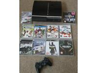 Playstation 3 60gb plus 10 games