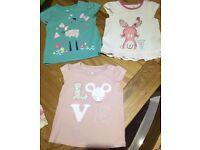 3 Baby Girl Short Sleeved Tops 6-9 month