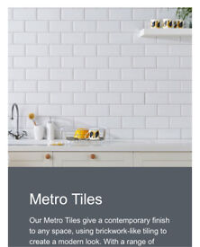 One box of METRO WHITE topps tiles 50 tiles in a box 10x20 cm 7mm thick. Modern high shine