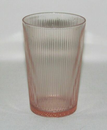 Jeannette Glass HOMESPUN Pink Flat Straight-Sided Water Tumbler