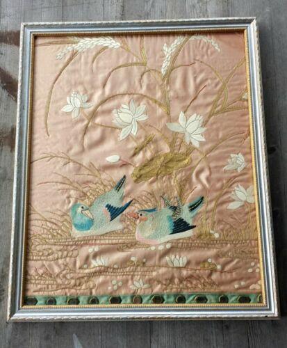 Stunning 19th-Century American Framed Silk-on-Silk Embroidery Panel Adirondacks
