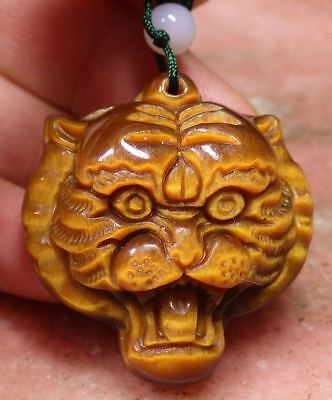 (CHINESE Tiger CAT Eye JADE PENDANT Tiger Head Amulet 297150)