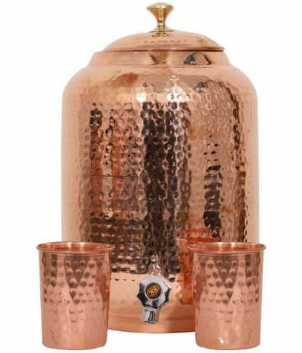 Pure Copper Hammered Water Dispenser,8L Pitcher With 2 Serving Glass