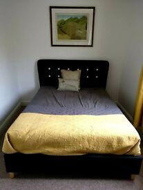 New Black Retro Fabric Double Bed Frame