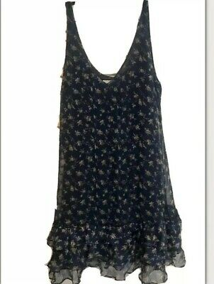 NWT Abercrombie & Fitch Ruffle Dress L Blue Floral NEW Hollister And Lined New