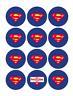35 Superman Logo Cupcake Cake Toppers Decorations Edible Wafer Paper *Pre Cut*