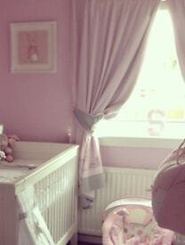 Girls next curtains and lamp shade. Bunny rabbit theme. Nursery.