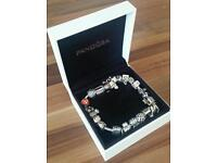 Pandora bracelet with safety chain and charms